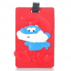 Nette Silikon Papa Schlumpf Abbildung Sichere Reise Koffer ID Luggage Tag - Red