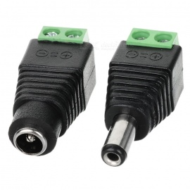 Male+Female Converter Connector Adapter for CCTV Camera - Black (Pair)