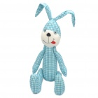 Stylish Fabric Art Rabbit Style Doll Toy - Blue + White Lattice (Posture Adjustable)