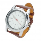 Stylish Leather Band Stainless Steel Water Resistant Quartz Wrist Watch (1 x 377)
