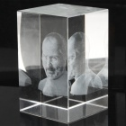 Square 3D Laser Etched Steve Jobs Statue Crystal Block