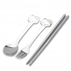 Hello Kitty Style Stainless Steel Chopsticks + Spoon + Fork with Carrying Pouch