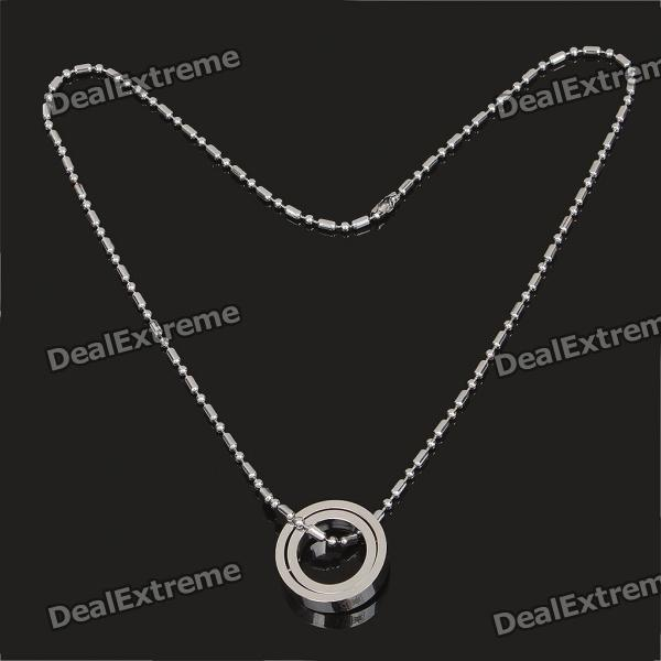 One Piece Double Rings Pendant Necklace - Silver