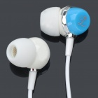 Fashion In-Ear Earphone w/ Vintage Key Shaped Cable Cord Wrap Organizer - White + Blue (3.5mm Jack)