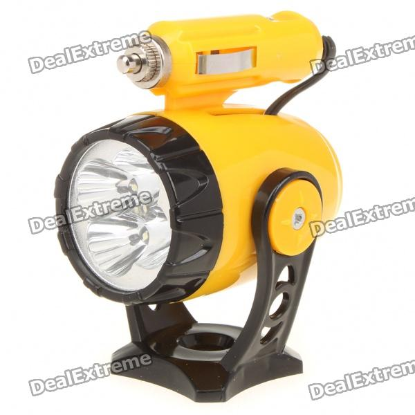 Car Cigarette Powered Magnet Bottom 180 Degree Rotatable 400LM 5-LED Yellow Light Spotlight (DC 12V)