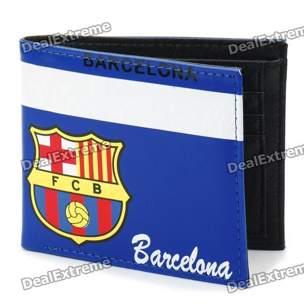 Football/Soccer Club Team Double-Fold PU Leather Wallet - Barcelona