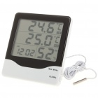 "3.9"" LCD Indoor/Outdoor Digital Thermometer/Humidity Meter w/ Alarm Clock (1 x AAA)"