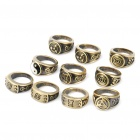 Fashionable Cartoon NARUTO Style Finger Rings Set - Coppery (10-Piece)