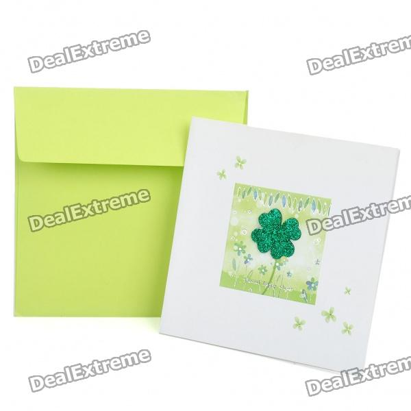 3D Lucky Clover Pattern Holiday Congratulations Gift Card with Envelope