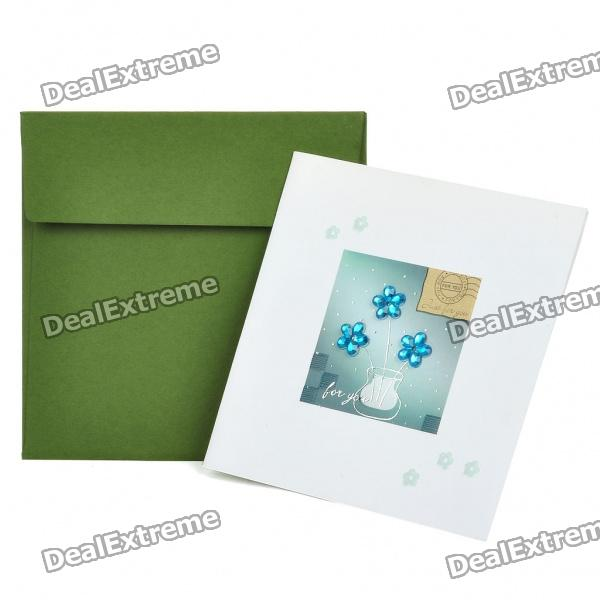 3D Flowers Pattern Holiday Congratulations Gift Card with Envelope