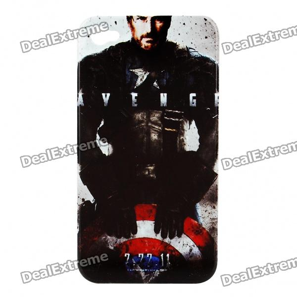 Remembering Steve Jobs Protective Plastic Back Case for iPhone 4 - Black + White + Red