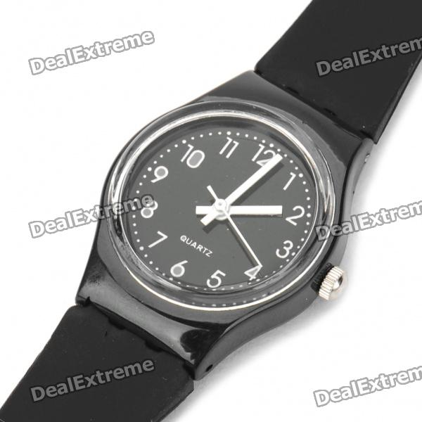 Fashionable Decoration Water Proof Silicone Wrist Watch - Black (1 x 377)