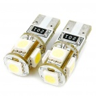 T10 0.3W 6500K 46-Lumen 5-5050 SMD LED White Light Car Bulbs (DC 12V/Pair)