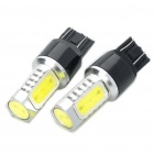 T20 12W 6500K 420-Lumen 2-5050 SMD LED White Light Car Reversing/Parking Lamps (DC 12~24V/Pair)
