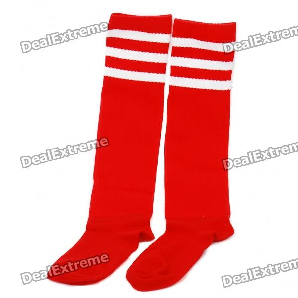 Professional Football Stocking für Erwachsene - Red + White Stripe (Pair / Set)