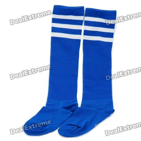 Professional Football Stockings for Adult - Blue + White Stripe(Pair/Set)