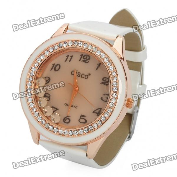 Fashion Leather Band Quartz Water Resistant Wrist Watch - White(1 x 377)