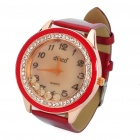 Fashion Leather Band Quartz Water Resistant Wrist Watch - Red (1 x 377)