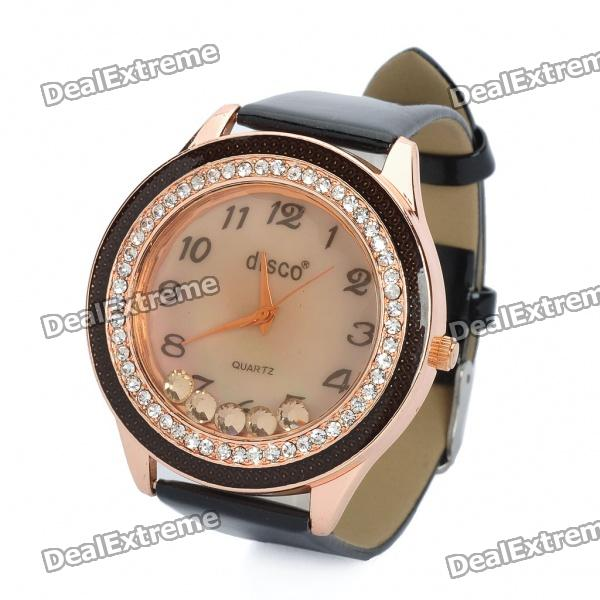Fashion Leather Band Quartz Water Resistant Wrist Watch - Black (1 x 377)