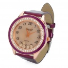 Fashion Leather Band Quartz Water Resistant Wrist Watch - Purple (1 x 377)