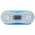 """1.0"""" LCD Mini USB Rechargeable MP3 Player Speakers w/ FM/TF/Line-in - Blue"""