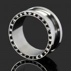 316L Surgical Steel Bend Rhinestone Body Piercing Ear Expansion Ring - Silver