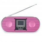 "1.5"" LCD Portable USB Rechargeable MP3 Player Speakers w/ FM/Alarm Clock/SD/Remote Control - Pink"