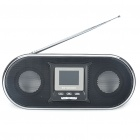 "1.5"" LCD Portable USB Rechargeable MP3 Player Speakers w/ FM/Alarm Clock/SD/Remote Control - Black"