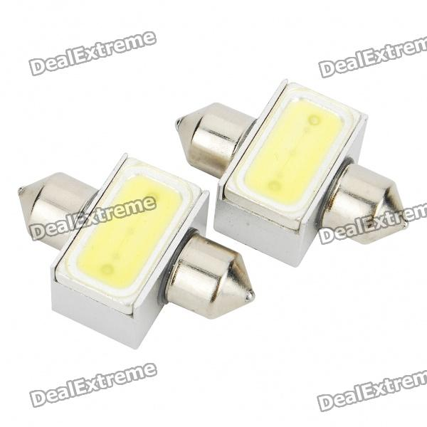 31mm 3W 6500K 110-Lumen 2-5050 SMD LED White Light Car Indoor/License Plate Lamps (DC 12V/Pair) lx 3w 250lm 6500k white light 5050 smd led car reading lamp w lens electrodeless input 12 13 6v