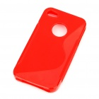 "Protective ""S"" Pattern PVC Back Case for Iphone 4S - Red"