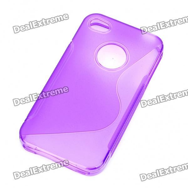 Protective S Style PVC Back Case for Iphone 4S - Purple cartoon pattern matte protective abs back case for iphone 4 4s deep pink