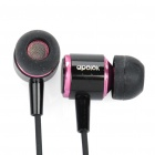 APOLOK ME-C066 In-Ear Earphone w/ Replacement Earbuds - Black + Pink (3.5mm Jack/120cm-Cable)