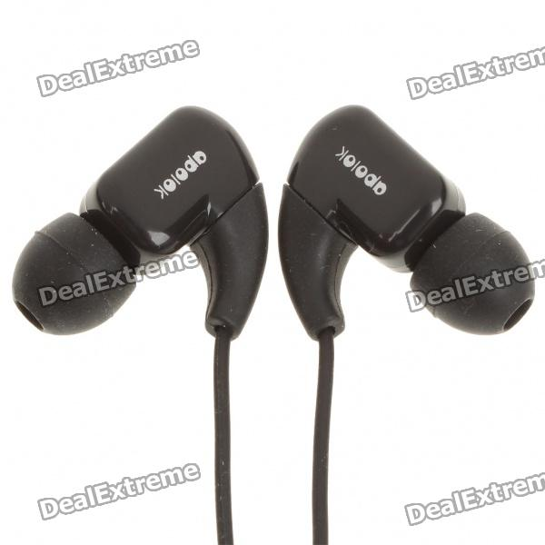 APOLOK Stilvolles In-Ear-Ohrhörer - Schwarz (3.5mm Audio Jack/120cm-Cable)