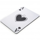 "Poker Spade ""A"" Pattern Natural Rubber Mouse Pad Mat - White"