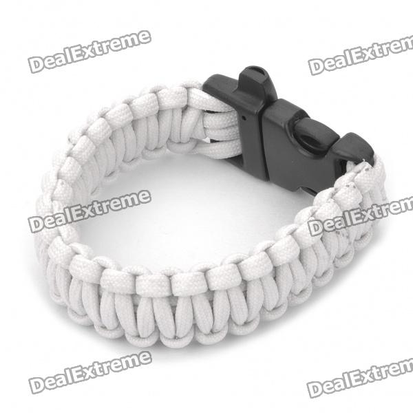 Fashion Survival Glowing-in-the-dark Paracord Bracelet with Whistle - White