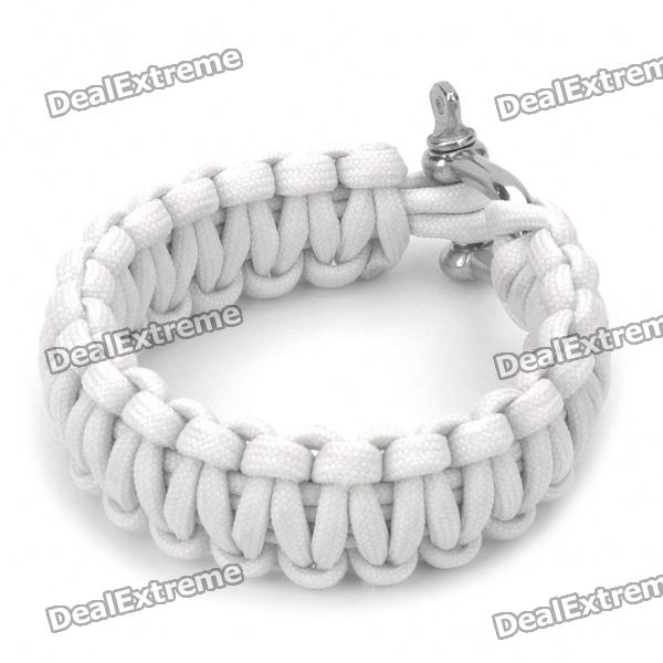 Stylish Survival Glowing-in-the-dark Paracord Bracelet with Stainless Steel Buckle - White the white guard