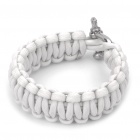 Stylish Survival Glowing-in-the-dark Paracord Bracelet with Stainless Steel Buckle - White