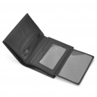 Compact Folding Leather Wallet - Black