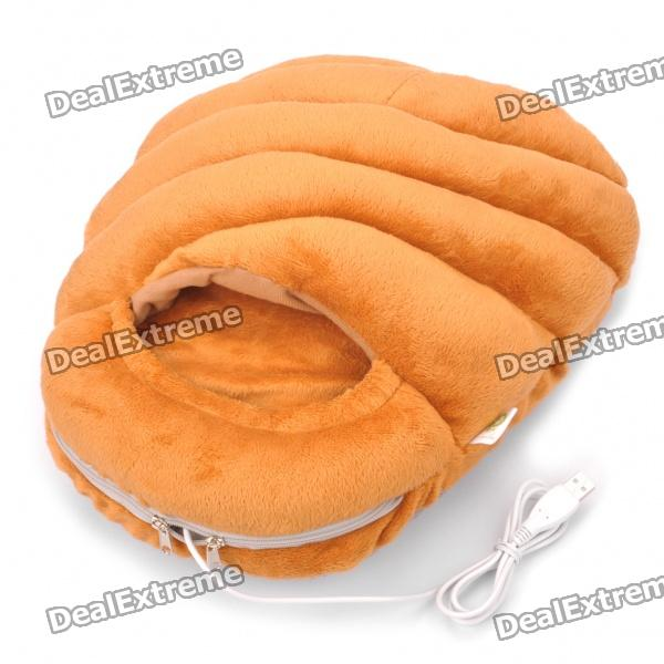Simulation Bread Loaf USB Heizung Feet Warmer Cushion - Brown