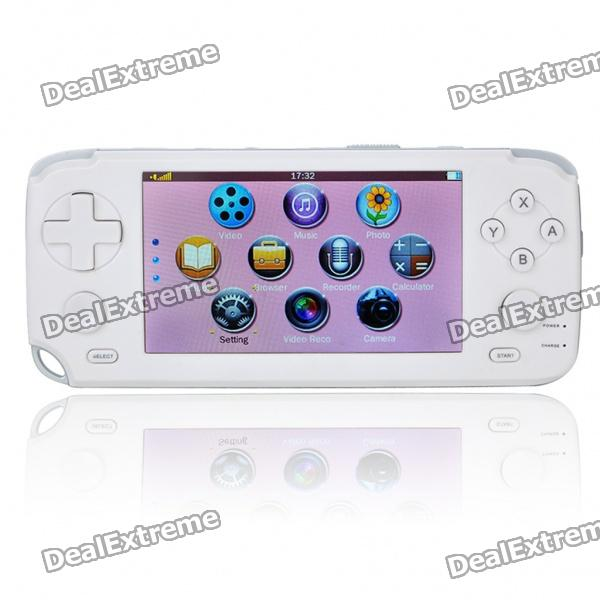 "4.3"" Touch Screen Game Console Media Player w/ 1.3MP Camera/FM/HDMI/TV-Out/TF - White (4GB)"
