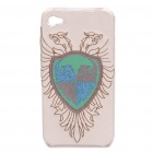 Stylish Firebird Embroidery Protective Case for iPhone 4 - White + Golden + Azury + Blue