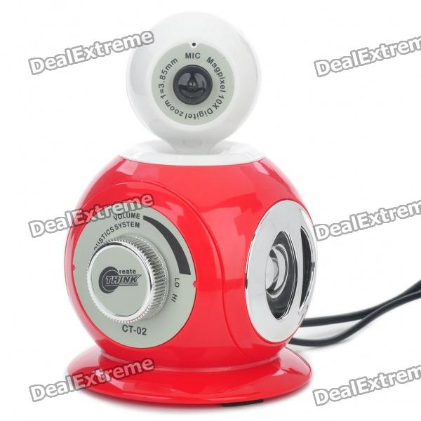 3-in-1 300KP CMOS Camera + Stereo Speaker + MIC (Red + White)