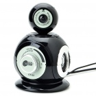 3-in-1 300KP CMOS Camera + Stereo Speaker + MIC (Black)
