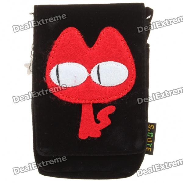 Cartoon Style Protective Bag with Strap for Iphone 4/4S - Black + Red