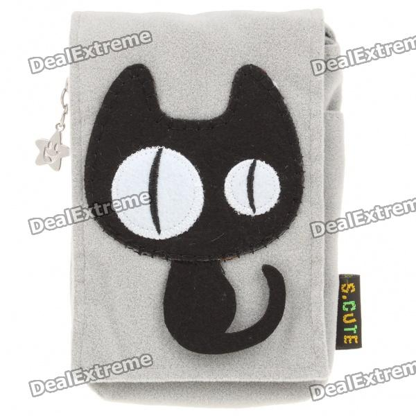 Cartoon Style Protective Bag with Strap for Iphone 4/4S - Grey + Black