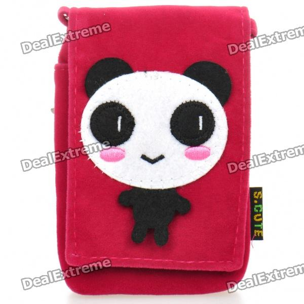 Cute Panda Pattern Protective Fabric Pouch Tasche für iPhone 4 / 4S - Red