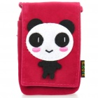 Cute Panda Pattern Protective Fabric Pouch Bag for iPhone 4 / 4S - Red