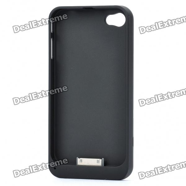 Protective Back Case with Triple SIM Card Adapter for iPhone 4 - Black