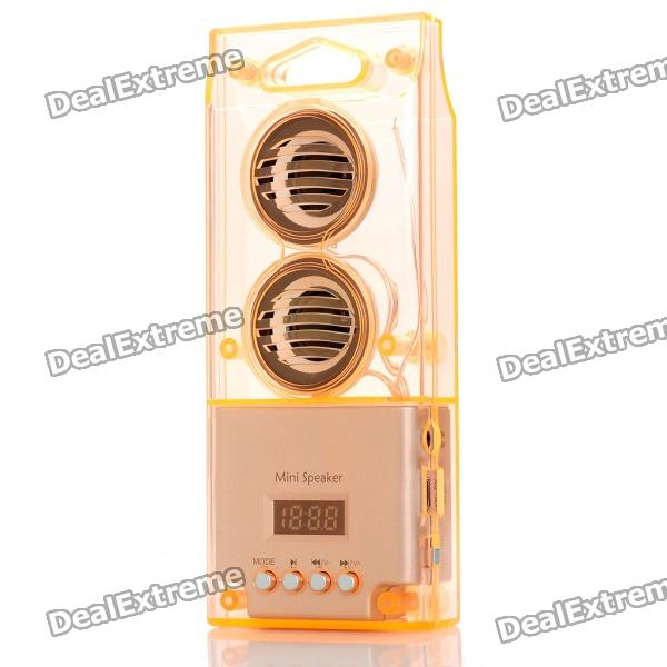 "0,8 ""LED tragbare Mode-Musik-Lautsprecher-Player mit FM / USB / TF - Transparent orange"