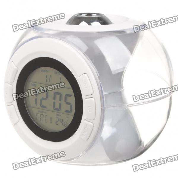 """1.6"""" LCD Ball Style Projection Clock w/ Thermometer - White (3 x AAA)"""